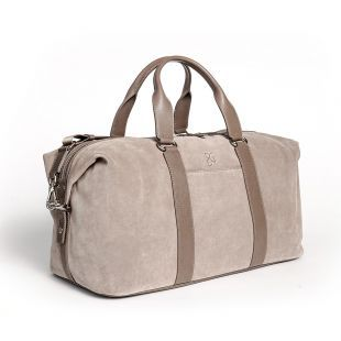 Weekender /Reisetasche Paul aus Veloursleder in Sand - Small - BGENTS